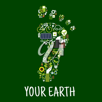 Go green concept symbol of footprint with flat icons of saving energy and recycling signs, light bulbs with leaves, bicycle and electric cars, trees, flowers and plants, solar panel, wind turbine and