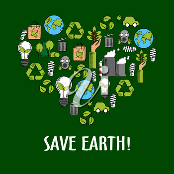 Heart shaped organic ecology icons. Invoking and calling to save it from pollution by using alternative and renewable, natural and ecological energy. Garbage recycling and clean ecosysterm concept
