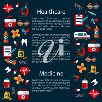 Healthcare and medicine infographic template that includes heart with pulse and tablet or pill, first aid kit and glasses, sticking plaster or adhesive bandage, tooth and DNA, syringe and microscope i