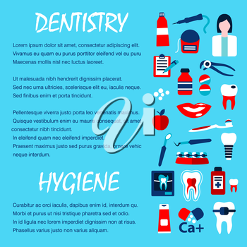 Dentistry template for dentist office design with flat symbols of healthy and decayed teeth, dentist, tool, pill, toothbrush, toothpaste, implant, braces, x-ray scan, floss and mouthwash