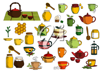 Tea beverages sketches of ceramic and glass teapot, chinese tea set, cup and mug with green leaves of tea and mint, sugar, cranberry, tea bag, sugar bowl, jar of honey with dipper and comb