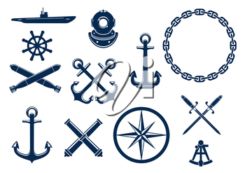 Marine and nautical flat icons and symbols set. Vector emblem blue elements of anchor, chain, steering wheel, submarine, sextant, bombs, cannons, swords.