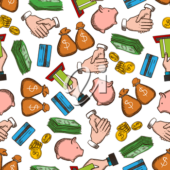 Business, Money, Success seamless background. Wallpaper with vector pattern icons of credit card, handshake, piggy bank, dollar, banknote, coin. Businessmen partnership, income and savings concept