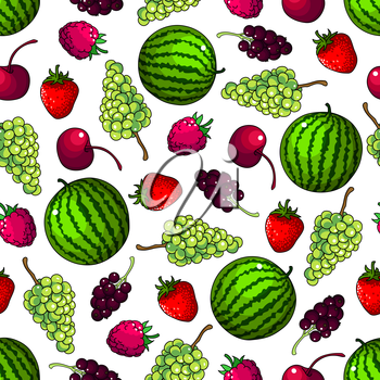 Fruits seamless background. Vector wallpaper with pattern of watermelon, grape, strawberry, cherry, raspberry black currant. Kitchen decoration wallpaper, tablecloth