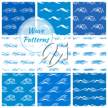 Waves pattern backgrounds. Wallpaper tiles with vector icons of blue and white ocean and sea waves. Tide, storm, wind, foamy wave elements