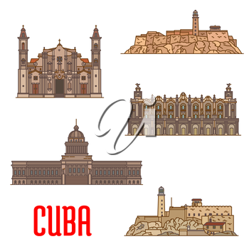 Great Theatre of Havana, Real Fuerza Fortress, San Carlos de la Cabana, National Capitol, St Christopher Havana Cathedral. Vector detailed icons of landmarks and sightseeings of Cuba for souvenirs, tr
