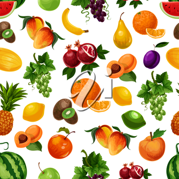 Vector pattern of fresh fruits with leaves. Bunches of white grape, pomegranate, apricots, pear, banana, peach, pineapple, lime, kiwi, mango. Exotic and tropical fruits seamless pattern