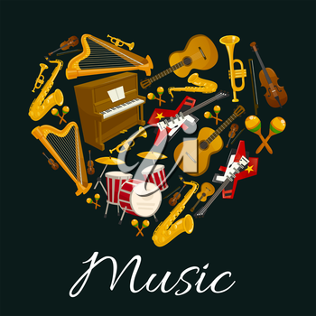 Music emblem of musical instruments in heart shape. Vector label with pattern of music instruments for jazz, rock, bossa nova, blues, pop, electro music disc cover, concert banner, music fest poster d