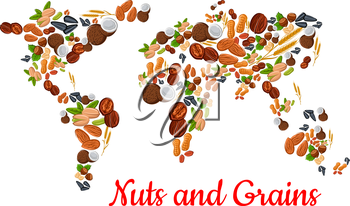 Nuts and grains world map. Vector nut, grain, kernels, natural nutritious coconut, almond, pistachio, cashew and hazelnut, walnut and bean pod, peanut and sunflower, pumpkin seeds. Vegetarian healthy