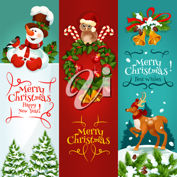 Merry Christmas festive banner set. Holly berry wreath with candy, bell, ball and owl in santas hat, snowman with greeting card and snowy pine, reindeer in winter forest landscape. Xmas card design