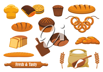 Bread isolated icon set with wheat and rye bread, long loaf, baguette, croissant, cupcake, sweet bun, toast, bagel, cookie, glazed roll, flour bag, cereal ear, rolling pin and cutting board