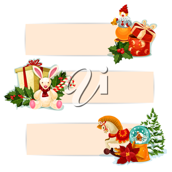 Christmas gift banner set. Present boxes with bow, holly berry, candy cane, xmas tree, snow globe, poinsettia, rabbit, horse and clown toy. Festive label with copy space for xmas holidays design