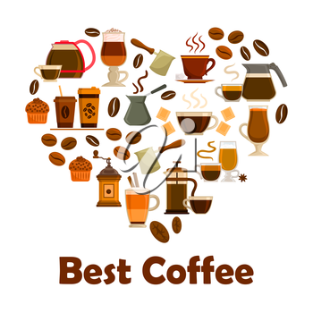 Coffee heart symbol with icons of coffee cup with espresso, cappuccino and latte drink, coffee bean, coffee pot, coffee maker, coffee grinder, cupcake dessert and chocolate. Cafe, coffee shop design