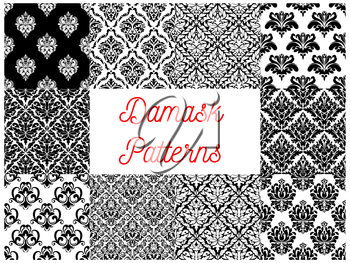 Damask ornament seamless pattern set. Floral background of black and white baroque flower with leaf scroll and flourishes. Vintage wallpaper, interior accessory design