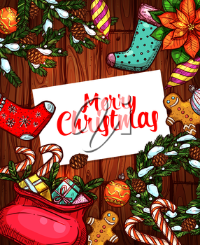 Merry Christmas holiday sketch poster. Gift box with bow, candy cane, pine wreath with snow and bauble ball, gingerbread man, sock and poinsettia on wooden background. Xmas greeting card design
