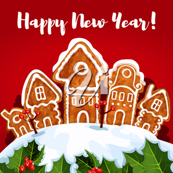 New Year gingerbread town winter greeting card. Banner with wishes of Happy New Year and copy space, adorned by pine tree with bauble ball, holly berry, pine branches with snow and cone, candle lanter
