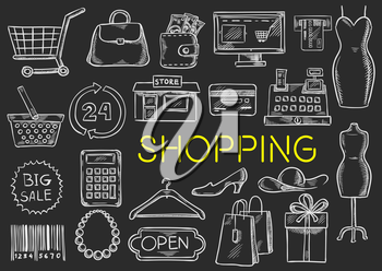 Shopping icons set. Vector isolated chalk sketch shopping items on blackboard. Shopping basket, price tag, barcode, money purse bag, shop counter, woman dress, credit card, clothes hanger, shoes, shop