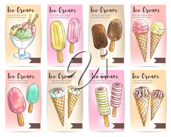 Ice cream menu card template. Sweet dessert strawberry fruit, pistchio ice cream scoops in glass bowl, eskimo pie in chocolate glaze, sundae in wafer cone. Vector color sketch design elements for cafe