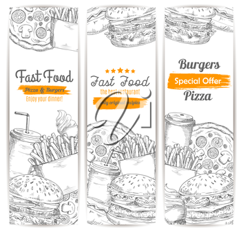 Fast food restaurant menu sketch banner set. Burger, pizza, hot dog, hamburger, soda and coffee drinks, french fries, cheeseburger and ice cream cone. Takeaway food and drink menu banner design