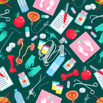 Medical seamless pattern of medicine, healthy lifestyle and health items drug pills in capsules, weight scales, bottle, surgery scissors and doctor gloves, fitness barbell or dumbbell, kidney organs,