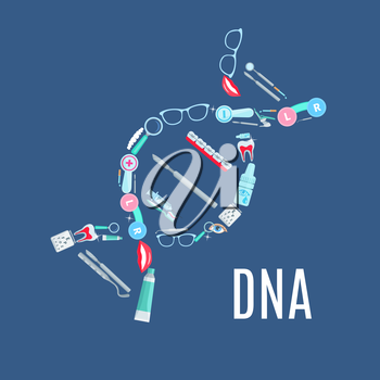 Dentistry and ophthalmology medical items in symbol of DNA helix. Vector tools of dentist and ophthalmologist orthodontic tooth braces, eye drops, glasses lenses and examination test, mouth mirror and