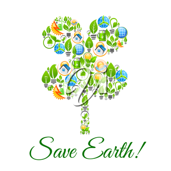 Save Earth poster with clover leaf symbol. Ecology and nature conservation and pollution protection, green sources and recycling concept designed of electric lamp and plug socket, sun light and solar