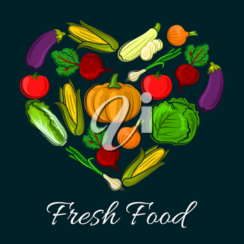 Heart shaped farm harvest vegetables. Organic radish or beets, healthy corn and fresh tomato, napa or chinese cabbage and eggplant, zucchini. Vegetarian food or vegan shop, grocery store or veggie mar