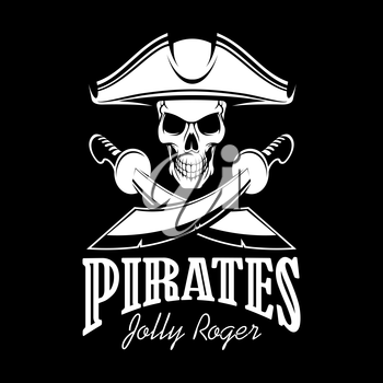 Pirates black flag poster. Symbol of Jolly Roger skeleton skull in tricorn or tricorne captain pirate hat and crossed swords or sabers. Vector design for entertainment party decor, alcohol drink bar o