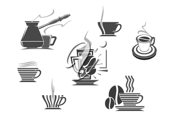 Coffee icons of vector isolated coffee cup and coffee makers turkish cezve and fench press. Hot espresso and creamy latte glass drinks, roasted coffee beans, coffee mill or grinder for cappuccino or m
