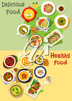 Tasty soup dishes icon set of vegetable cream soups with cheese toast, fish and meat soups with pasta, bean, meatball, egg and veggies, beef roll with cheese, spicy waffles and tomato lentil salad