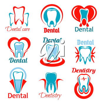 Dentistry emblems set of tooth, stomatology and dentist office icons. Vector isolated teeth symbols for stomatologist clinic, dental care clinic. Signs of healthy tooth and gum with heart for odontolo