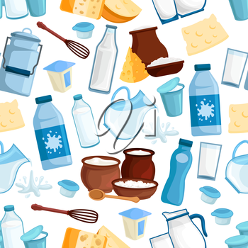 Milk and dairy seamless pattern of vector milky food and drinks products, milk bottle and butter, yogurt or kefir in pitcher, cottage cheese and fresh cream in bowl, sour cream and curd for milk shop,