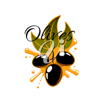 Olive oil splash and fresh flack olives. Vector icon of olive-tree branch with green leaves and black ripe olive fruits. Isolated emblem or symbol for olive oil product bottle label of olive-pomace sa