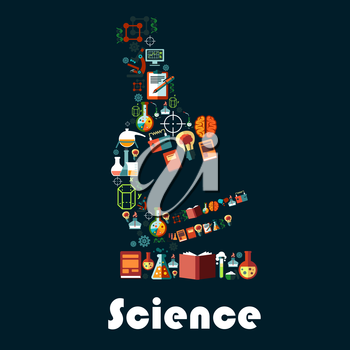 Science poster in microscope shape. Vector astronomy, chemistry, physics, genetics, mathematics, science items and books, laboratory flask, dna and formula, battery, light bulb and computer symbols