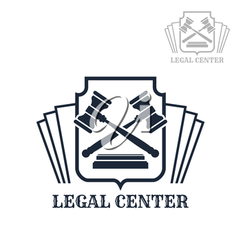 Advocacy or lawyer legal center vector icon with law code and judge gavels on heraldic shield. Emblem or sign for juridical company or advocate or justice attorney office, counsel and notary