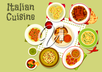 Italian cuisine icon of pasta with salami and pesto sauce, crab pasta nests, spaghetti with cheese and garlic, meat bread with chilli, vegetable beef salad, beef carpaccio on bread, baked meat roll