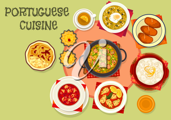 Portuguese cuisine popular dishes icon with fish potato cutlet, baked fish in cream sauce, tomato cod soup, bread soup with egg, stuffed squid, custard cake, cabbage sausage soup, rice pudding