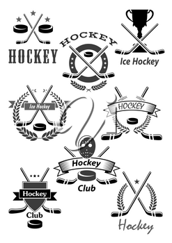 Ice hockey vector icons or championship award emblems for game tournament. Symbols of hockey puck, stick and goalkeeper mask, winner cup and victory laurel wreath for team contest ribbons and stars