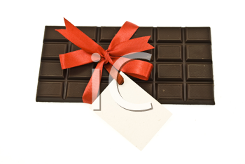 Black chocolate with red ribbon and card