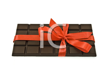 Royalty Free Photo of a Chocolate Bar Wrapped in a Bow