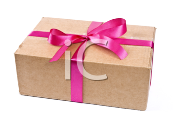 Cardboard box with red bow