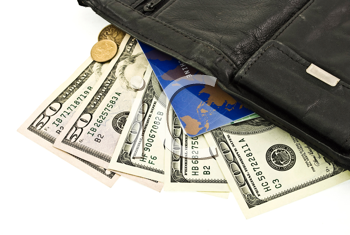 Royalty Free Photo of a Leather Purse With Money and Credit Cards