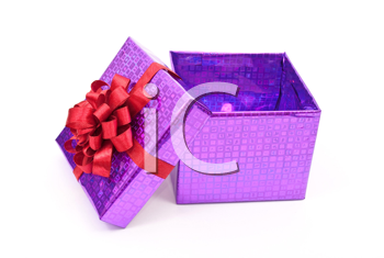 Open gift box with red bow