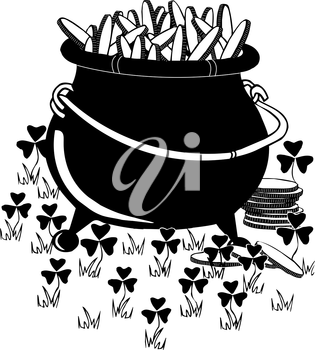 Royalty Free Clipart Image of a Pot of Gold