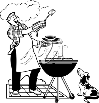 Royalty Free Clipart Image of a Do Watching a Man Barbecuing