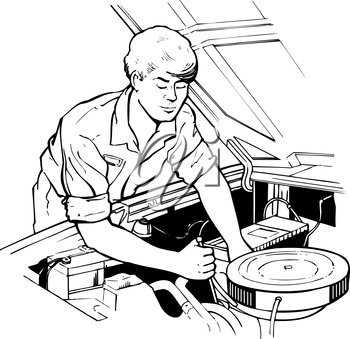 Royalty Free Clipart Image of a Man Working on a Car
