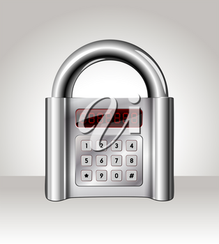 Closed padlock with digital interface,data security concept