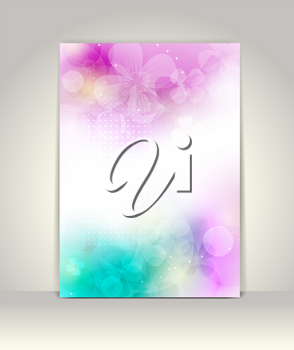 Business brochure template, flower colorful design