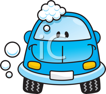 Royalty Free Clipart Image of a Happy Blue Car With Suds