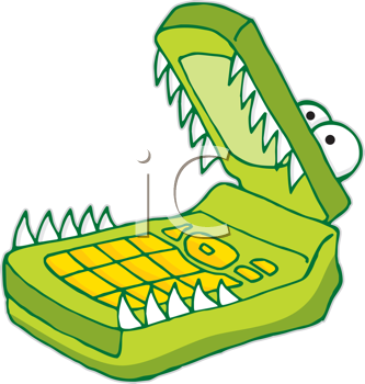Royalty Free Clipart Image of an Alligator Cellphone